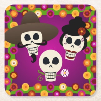 Day Of The Dead Skulls Square Paper Coaster