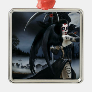 Day of the Dead Square Metal Christmas Ornament