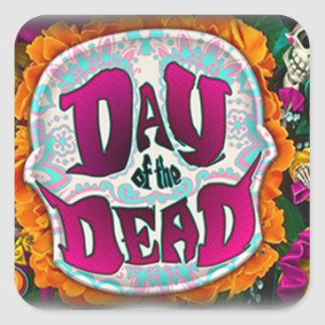 AllThingsParanormal Day of the Dead Square Sticker
