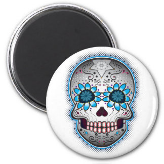 Day Of The Dead Sugar Skull 2 Inch Round Magnet