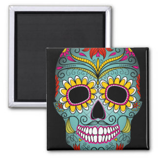 Day of the Dead Sugar Skull 2 Inch Square Magnet