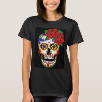 DAY OF THE DEAD SUGAR SKULL AND ROSES T-SHIRT