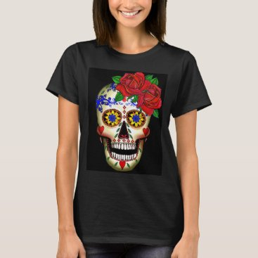 FRIDISIMA DAY OF THE DEAD SUGAR SKULL AND ROSES T-SHIRT