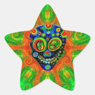 Day Of The Dead Sugar Skull Art Star Sticker
