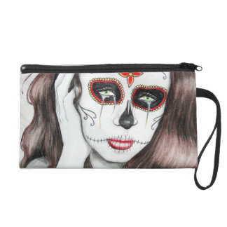 Day of the Dead Sugar Skull Art Wristlet