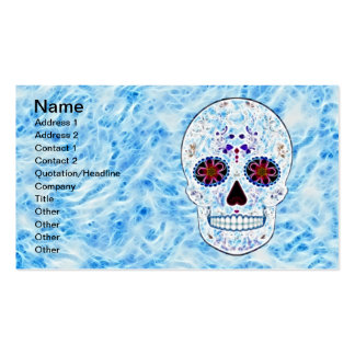Day of the Dead Sugar Skull - Baby Blue Fractal Business Card