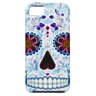 Day of the Dead Sugar Skull - Baby Blue Fractal iPhone 5 Cover