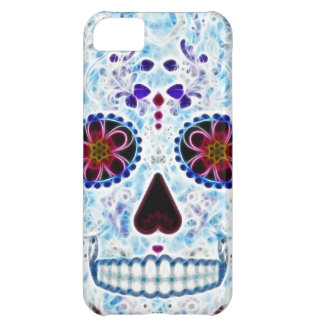Day of the Dead Sugar Skull - Baby Blue Fractal iPhone 5C Cover