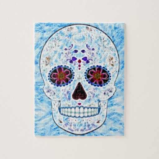 Day of the Dead Sugar Skull - Baby Blue Fractal Puzzles