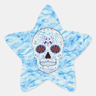 Day of the Dead Sugar Skull - Baby Blue Fractal Star Sticker