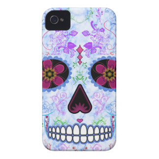 Day of the Dead Sugar Skull - Baby Blue & Multi iPhone 4 Case-Mate Case