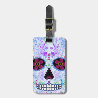 Day of the Dead Sugar Skull - Baby Blue & Multi Luggage Tag