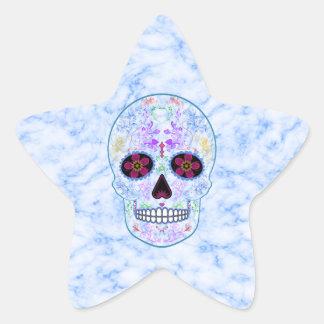 Day of the Dead Sugar Skull - Baby Blue & Multi Star Sticker