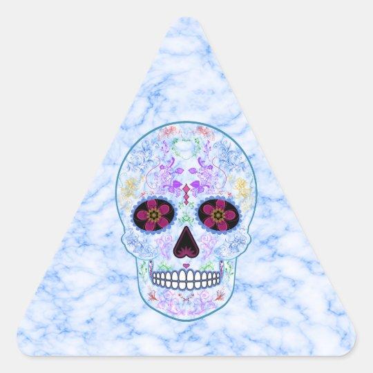 Day of the Dead Sugar Skull - Baby Blue & Multi Triangle Sticker