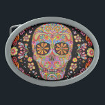 "Day of the Dead Sugar Skull Belt Buckle<br><div class=""desc"">This Day of the Dead Sugar Skull Belt Buckle features a colorful psychedelic sugar skull calavera celebrating Mexico"
