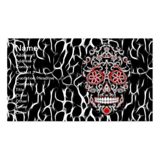 Day of the Dead Sugar Skull - Black, White & Red Business Card