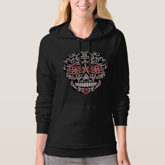 Day of the Dead Sugar Skull - Black, White & Red Hoodie