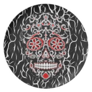 Day of the Dead Sugar Skull - Black, White & Red Melamine Plate
