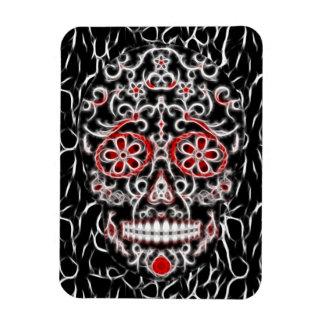 Day of the Dead Sugar Skull - Black, White & Red Rectangular Magnet