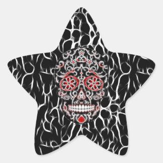 Day of the Dead Sugar Skull - Black, White & Red Star Sticker