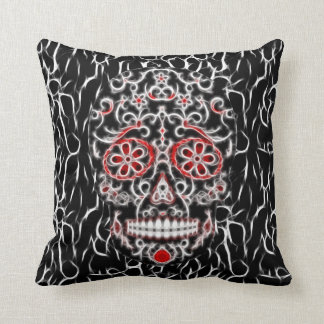 Day of the Dead Sugar Skull - Black, White & Red Throw Pillow