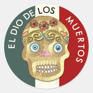 Day of the Dead Sugar Skull - Blonde Presswood Classic Round Sticker