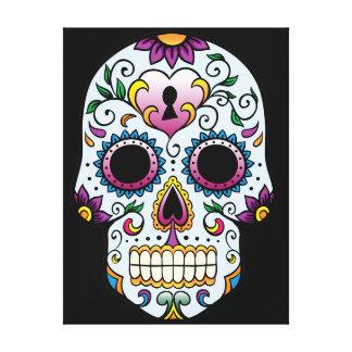 Day of the Dead Sugar Skull Blue Canvas Print