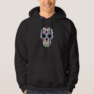 Day of the Dead Sugar Skull Blue Hooded Pullovers