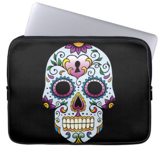 Day of the Dead Sugar Skull Blue Laptop Computer Sleeves