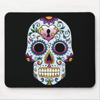 Day of the Dead Sugar Skull Blue Mouse Pad
