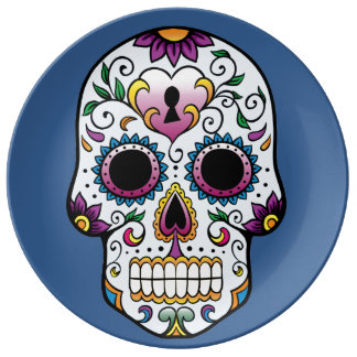 Day of the Dead Sugar Skull Blue Plate