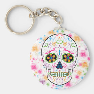 Day of the Dead Sugar Skull - Bright Multi Color Basic Round Button Keychain