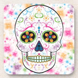 Day of the Dead Sugar Skull - Bright Multi Color Beverage Coaster