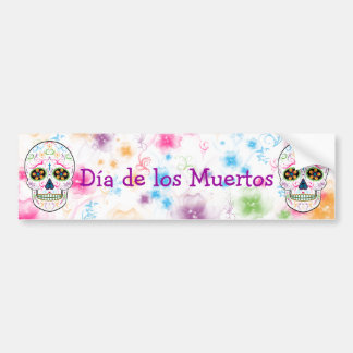 Day of the Dead Sugar Skull - Bright Multi Color Bumper Sticker