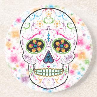Day of the Dead Sugar Skull - Bright Multi Color Drink Coasters
