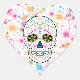 Day of the Dead Sugar Skull - Bright Multi Color Heart Sticker