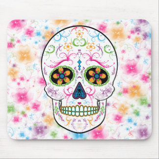 Day of the Dead Sugar Skull - Bright Multi Color Mouse Pad