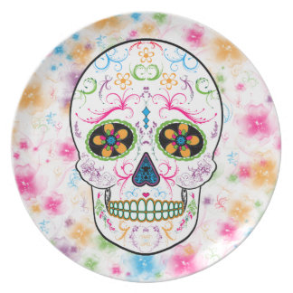 Day of the Dead Sugar Skull - Bright Multi Color Plate