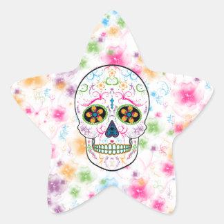 Day of the Dead Sugar Skull - Bright Multi Color Star Sticker