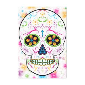 Day of the Dead Sugar Skull - Bright Multi Colors Canvas Print