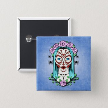 Halloween Themed Day Of The Dead Sugar Skull Button