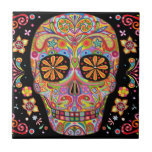 "Day of the Dead Sugar Skull Ceramic Tile<br><div class=""desc"">This Day of the Dead Sugar Skull Ceramic Tile features a colorful psychedelic calavera celebrating Mexico&#39;s Day of the Dead,  or Dia de los Muertos. The funky design for this Day of the Dead Sugar Skull Ceramic Tile is based on the artwork of Thaneeya McArdle.</div>"