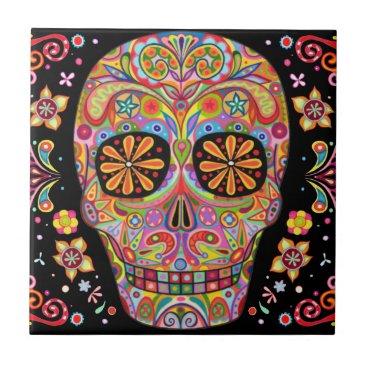 thaneeyamcardle Day of the Dead Sugar Skull Ceramic Tile