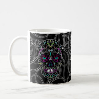 Day of the Dead Sugar Skull - Colorfully Black Coffee Mug