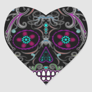 Day of the Dead Sugar Skull - Colorfully Black Heart Sticker