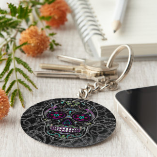 Day of the Dead Sugar Skull - Colorfully Black Keychains