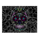 Day of the Dead Sugar Skull - Colorfully Black Postcard