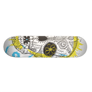 Day of The Dead Sugar Skull Comic Tattoo Design Skateboard