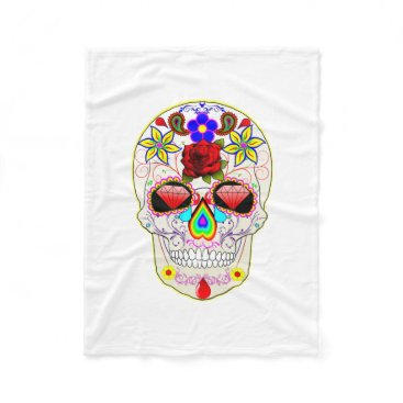 Halloween Themed Day of the Dead Sugar Skull Fleece Blanket