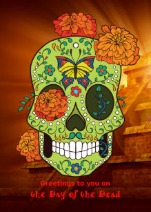 Flower sugar skull greeting cards zazzle day of the dead sugar skull flowers with pyramid card m4hsunfo